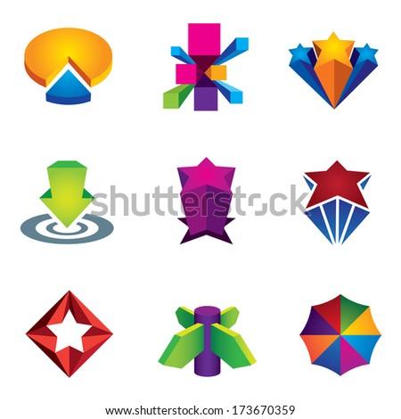 Color 3d social super star icon set for internet logo web creativity vector illustration success business economy market change crystal  - stock vector