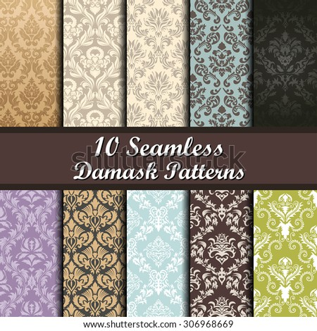 Color Damask Seamless Vector Pattern Set.  Elegant Design in Royal  Baroque Style Background Texture. Floral and Swirl Element.  Ideal for Textile Print and Wallpapers.  - stock vector