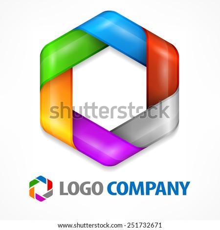 Color design element, geometric symbol hexagon on white, vector illustration - stock vector
