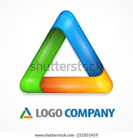 Color design element, geometric symbol triangle on white, vector illustration - stock vector
