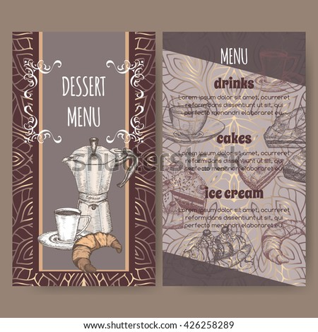 Color dessert menu card templates with hand drawn sketch of coffee maker and cup, apple pie, black forest cake, croissant and banana split ice cream. Ready to use artwork. - stock vector