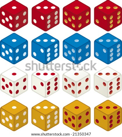 Color dices (vector) in diferent colors and positions, isometric