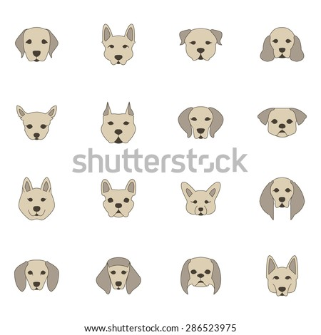 Color dog breed icon set - stock vector