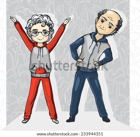 Color drawing of two elderly people in sportswear that make exercise/Old couple play sports - stock vector