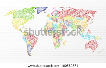 Color drawing political world map on a notepad sheet. Vector illustration. - stock vector