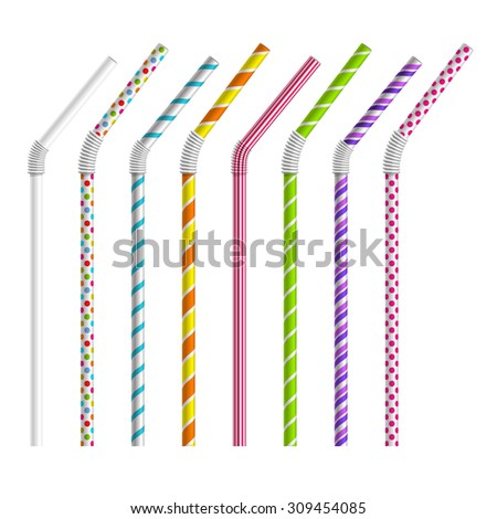 Color drinking straws vector set. Tube and pipe, object colorful, stripe and bend illustration - stock vector