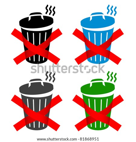 color dumpster signs isolated on white background - stock vector