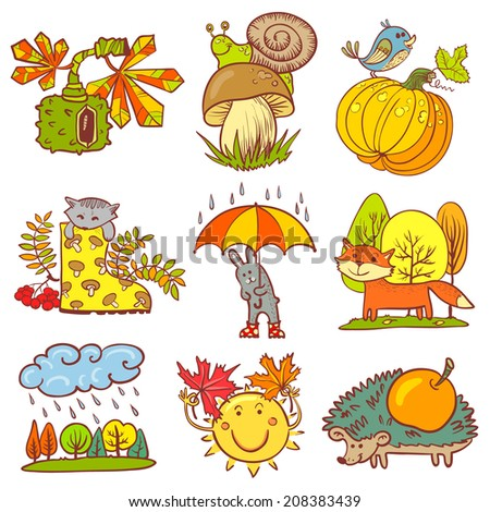 Color fall season set with animals - stock vector
