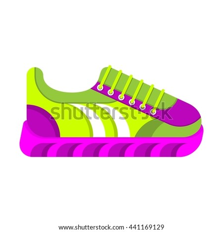 Color fashionable sneakers. Cartoon flat vector illustration. Objects isolated on a white background. - stock vector