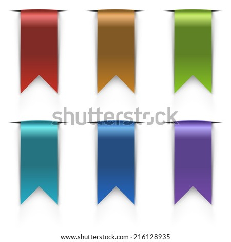 Color flag tags vector set isolated on white background. - stock vector
