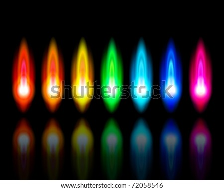 Color flames of a burning natural gas and reflection on black background - vector EPS10 - stock vector