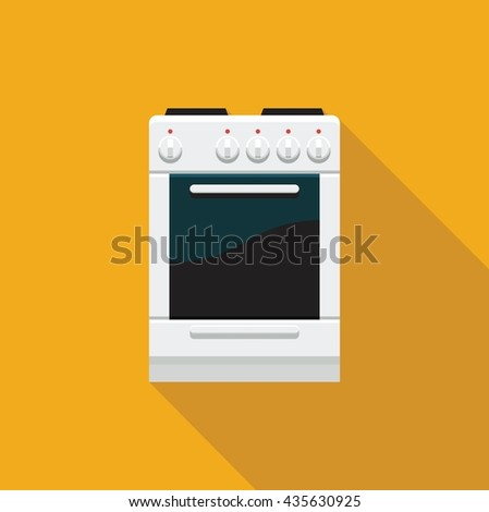 Color flat icon electric cooking range with oven - stock vector