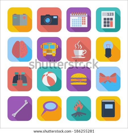 Color flat icons for Web Design and Mobile Applications. Vector illustration - stock vector