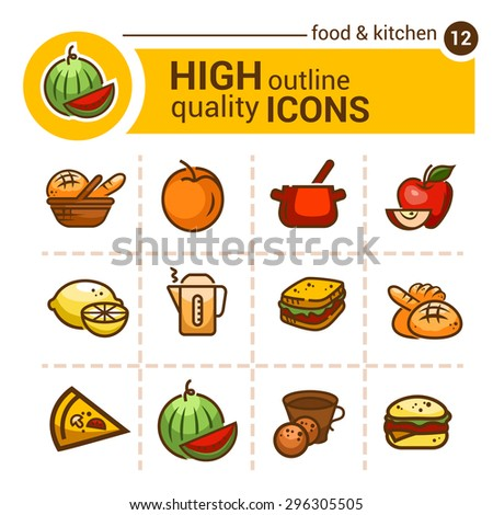 Color flat icons of food and kitchen, vector set. - stock vector