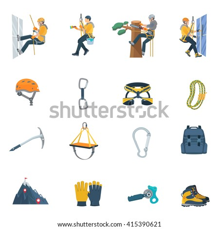 Color flat icons set of climbing equipment ofr industrial alpinism vector illustration - stock vector