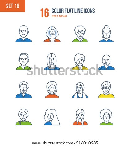 Color Flat Line icons set of people and their avatars, images of people and their profession. Office worker, teacher, scientific researcher, manager, businessman. Vector illustration. Editable Stroke