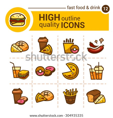 Color flat stickers and icons of fast food, vector set. - stock vector