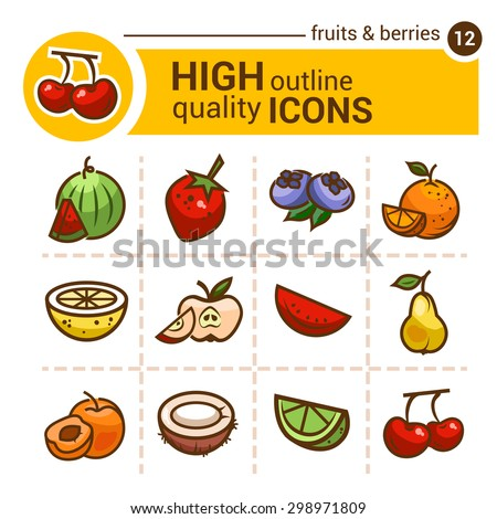 Color flat stickers of fruits and berries, vector set. - stock vector