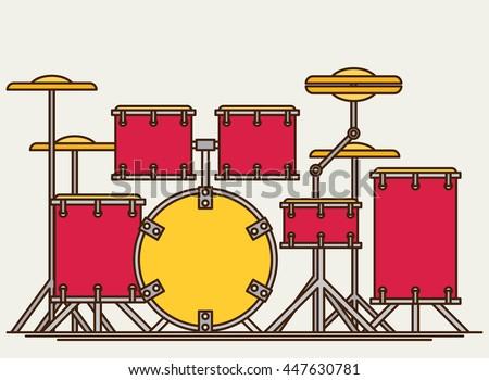 color flat style vector drum set bass tom tom ride cymbal crash hi