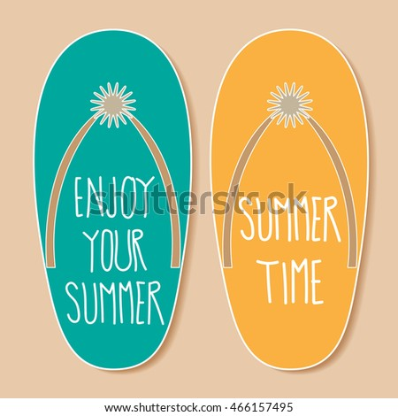 Color flip flops summer shoes with text. Vector illustration.