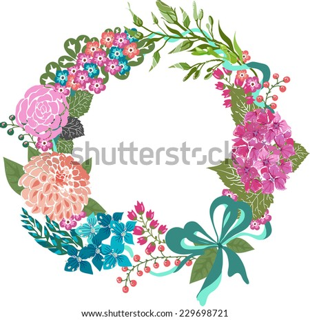 Color floral frame for wedding invitation design, save the date illustration, Vector - stock vector