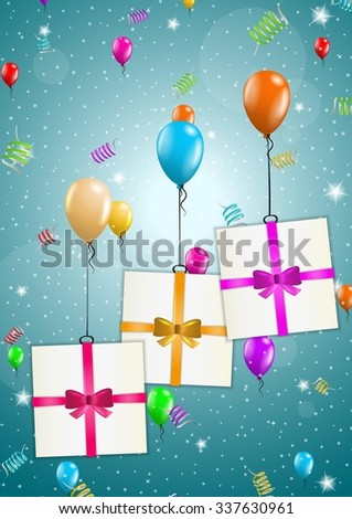 color flying balloons with presents on festive blue background - stock vector