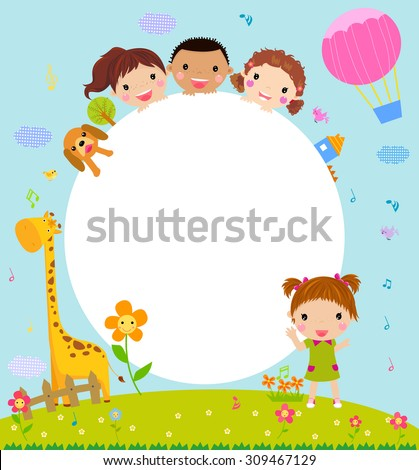 Color frame with group of kids and giraffe,background.