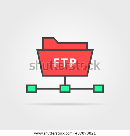 color ftp protocol simple icon. concept of software update, router, teamwork tool management, copy process, info. flat style trend modern logo design vector illustration isolated on white background - stock vector