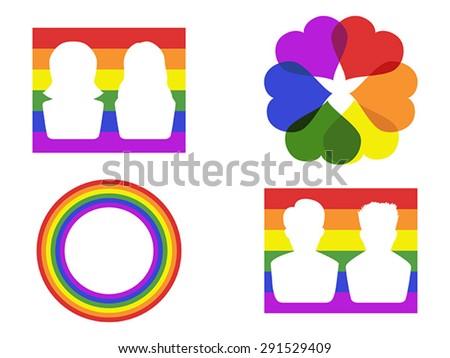 color gay symbol icons - stock vector
