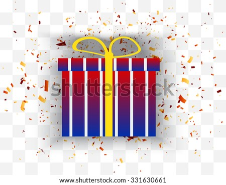 color gift box with confetti background. Vector illustration - stock vector