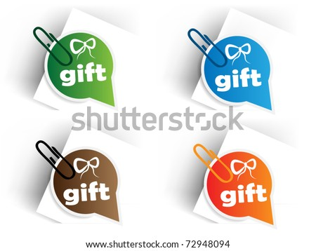 Color gift tags with pin - stock vector