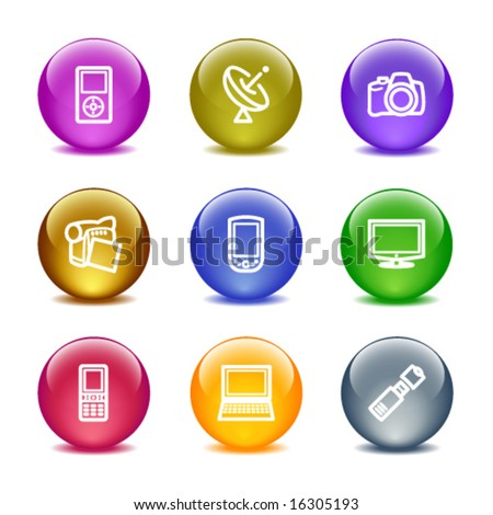Color glass ball web icons, set 16