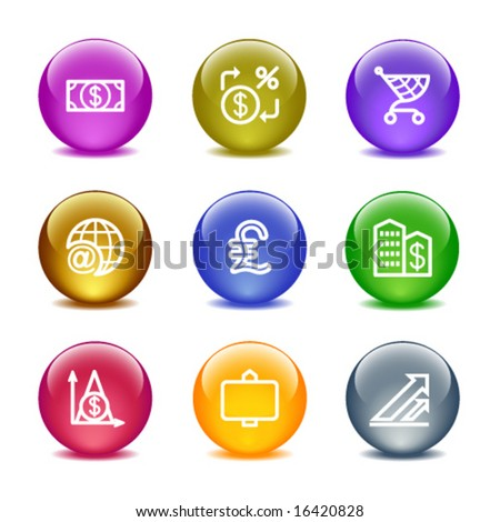 Color glass ball web icons, set 23 - stock vector