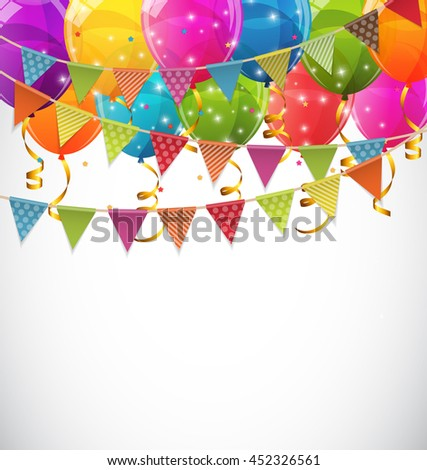 Color Glossy Balloons and Party Flags Background Vector Illustration EPS10 - stock vector