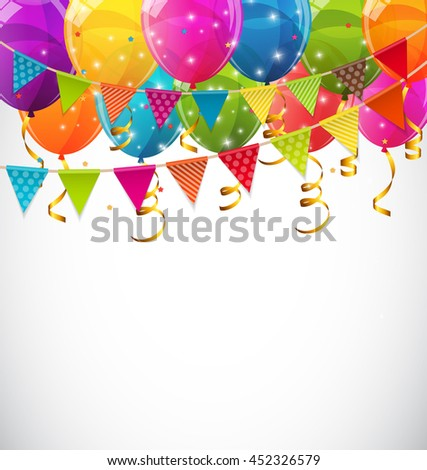 Color Glossy Balloons and Party Flags Background Vector Illustration EPS10