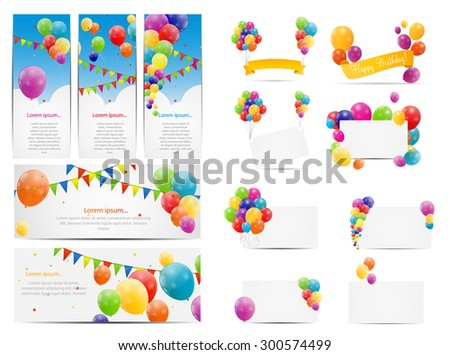 Color Glossy Balloons Background Set Vector Illustration EPS10 - stock vector