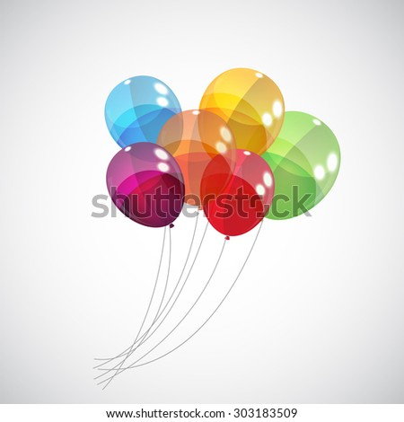 Color Glossy Balloons Background Vector Illustration EPS10 - stock vector