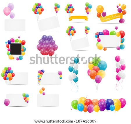 Color Glossy Balloons Card Mega Set Vector Illustration - stock vector