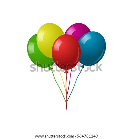 Color glossy balloons isolated on white background. Collection of colorful balloons.