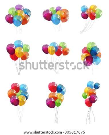 Color Glossy Balloons Set Background Vector Illustration EPS10 - stock vector