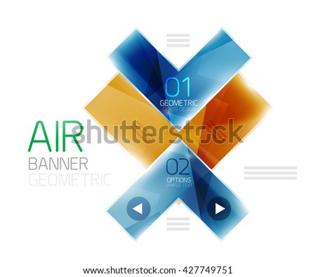 Color glossy glass arrow banner. Vector - stock vector