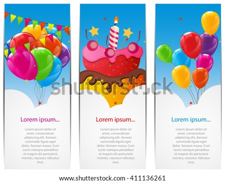 Color Glossy Happy Birthday Balloons and Cake Banner Background Vector Illustration EPS10 - stock vector