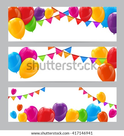 Color Glossy Happy Birthday Balloons Banner Background Vector Illustration - stock vector