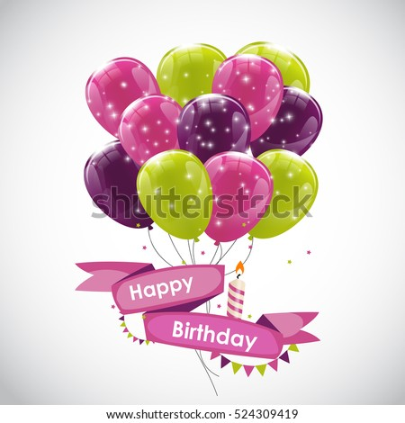 Color Glossy Happy Birthday Balloons Banner Background Vector Illustration EPS10
