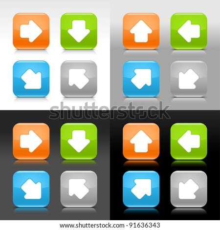 Color glossy web internet button with arrow symbol. Rounded square icon with shadow and reflection on four background. This vector saved in 8 eps. Do not contain effects and transparency