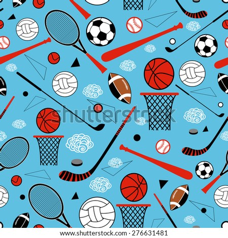 color graphic pattern sporting goods on a blue background - stock vector