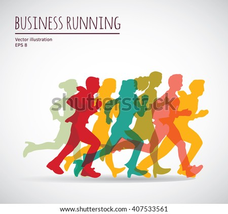 Color group people business running. Color vector illustration. EPS10 - stock vector