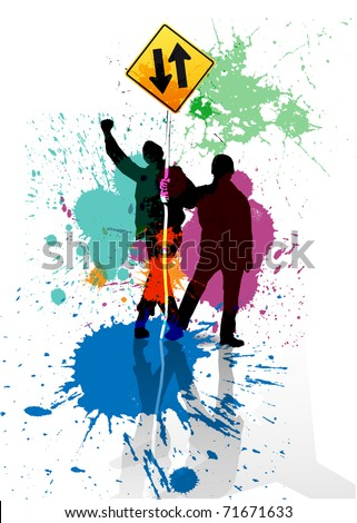 Color grunge poster with road sign - stock vector