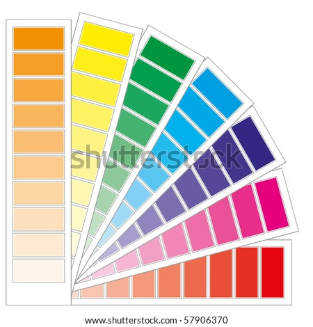 Color guide chart, cmyk rainbow background, part 3, vector illustration