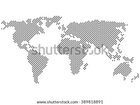Color Halftone World Map.Color Halftone.Vector Color Halftone Map Silhouette.Black and White Polka Dots World Map.